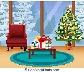 Christmas room with glass walls