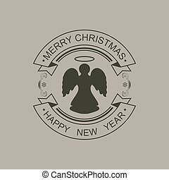 Christmas round black sign with a silhouette of an angel and text.