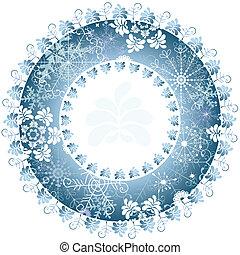 Christmas round frame - Christmas blue round frame on white...