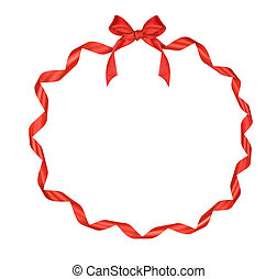 Christmas round frame of red ribbon with bow isolated on white background