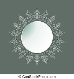 Christmas round frame with a silhouette of snowflakes.