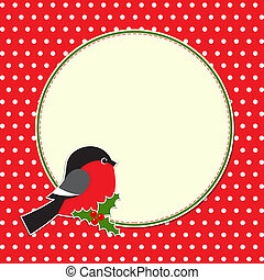 Christmas round frame with bullfinch