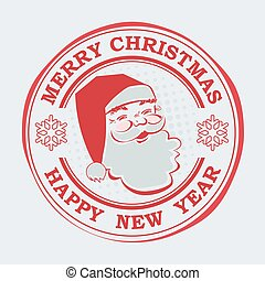 Christmas round print of red hue with a silhouette of Santa Claus and snowflakes