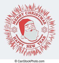 Christmas round red shade sign with a silhouette of Santa Claus and snowflakes.