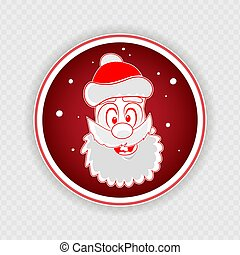 Christmas round red sign with a funny face of Santa Claus,