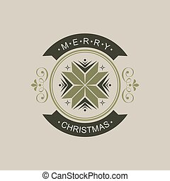 Christmas round shade sign with silhouette of abstract snowflake.