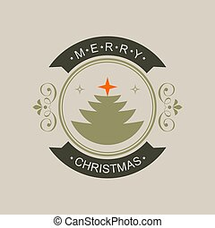 Christmas round shade sign with silhouette of Christmas tree and text.
