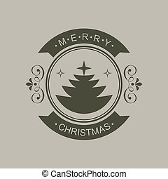 Christmas round sign of a black hue with silhouette of an abstract Christmas tree and text.