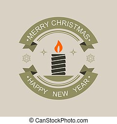Christmas round sign of a green black hue with the silhouette of an candle with a burning red flame.
