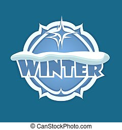 Christmas round sign of blue color with the silhouette of snow and winter text.