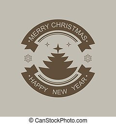 Christmas round sign of dark brown color with silhouette of Christmas tree.
