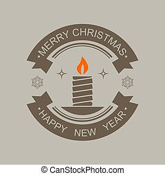 Christmas round sign of dark color with silhouette of an abstract candle.