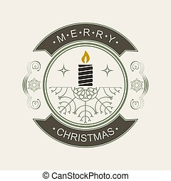Christmas round sign with a silhouette of a candle and snowflakes.