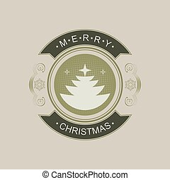 Christmas round sign with silhouette of abstract Christmas tree.