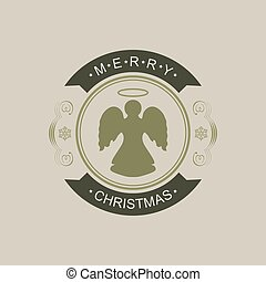 Christmas round sign with silhouette of an angel.