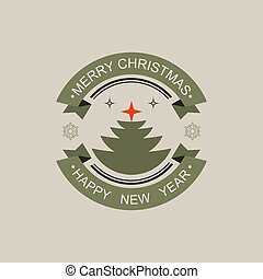 Christmas round sign with silhouette of Christmas tree.