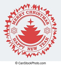 Christmas round stamp in red with the silhouette of an abstract Christmas tree,