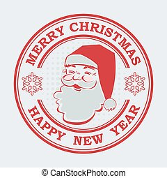 Christmas round stamp, sign in red with the silhouette of Santa Claus.