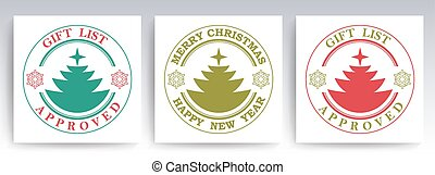 Christmas round stamp with a silhouette of a Christmas tree and snowflakes, set