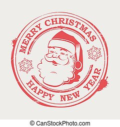 Christmas round stamp with Santa Claus with text and snowflakes,