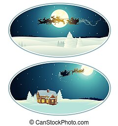 Christmas Rounded Banner with Xmas Pictures