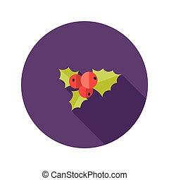 Christmas Rowanberry Flat Icon - Illustration of Christmas...