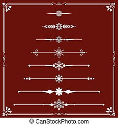 Christmas Rule Lines - Snowflake Rule Line ornaments. Each ...