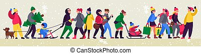 Christmas Rush. Festive teenagers with shopping bags , adults with kids.