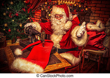 Christmas rush - Santa Claus is sewing on a sewing machine...