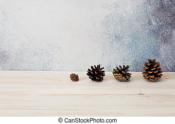 Christmas rustic background with pine cones