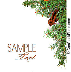 Christmas Rustic Image of Pine Tree Stems and a Pinecone on White Background With Copyspace For Your Design