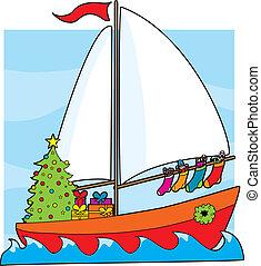 Christmas Sailboat - A sailboat with a Christmas tree, ...