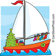 Christmas Sailboat - A sailboat with a Christmas...