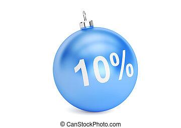 Christmas Sale 10% concept, 3D rendering