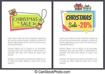 Christmas Sale -20 Off Set Vector Illustration