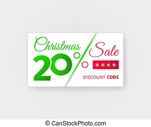 Christmas sale 20 percent discount coupon. Sale card with...