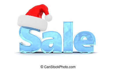 Christmas sale - 3d illustration of sale sign with christmas...