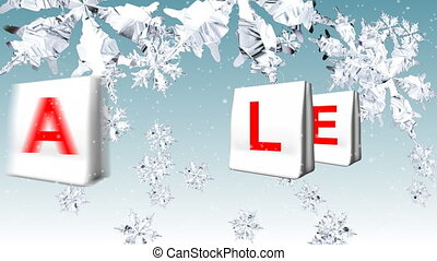 Christmas Sale Advertisement. Animation of white bags spelling SALE in Christmas background