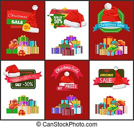 Christmas Sale Advertisement Banner with Presents
