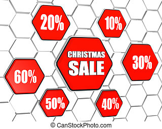 christmas sale and percentages in red hexagons buttons