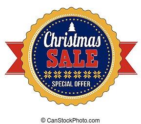 Christmas sale badge on white background, vector illustration