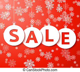 Christmas sale balls with snowflake Vector. - Christmas sale...