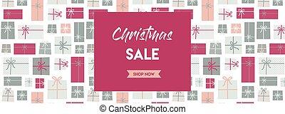 christmas sale banner. christmas present background. vector illustration