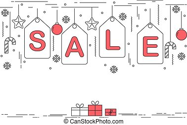 Christmas sale banner design in thin line art style