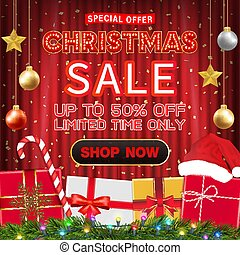 christmas sale banner design with gift box