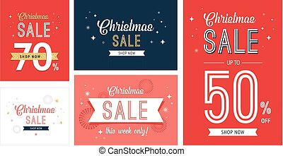Christmas sale banner set, background, design template