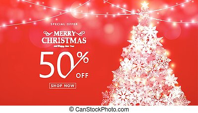 Christmas sale banner. Special offer, discount type text, 50...