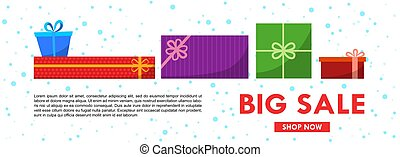 Christmas sale banner template with gift boxes. Vector flat illustration