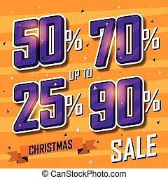Christmas sale banner. Vector sales discount percentage
