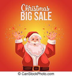 Christmas sale banner with cartoon half length Santa Claus portrait